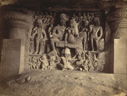 [Ravana sculpture in the Dumar Lena Cave Temple (Cave XXIX), Ellora.]